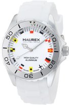 Haurex Italy Men's Ink Rubber Band Flag-Like Indices Aluminum Watch 1K374UWF