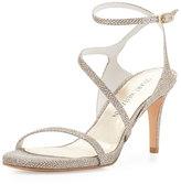 Stuart Weitzman Sultrymid Glitter Fabric Evening Sandal, Platinum