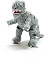 Little Baby Company Knitted Cotton T Rex Dinosaur Rattle Soft Toy