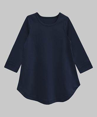 A.T.U.N. Girls' Tunics Navy - Navy Caper Three-Quarter Sleeve A-Line Tunic - Infant, Toddler & Girls
