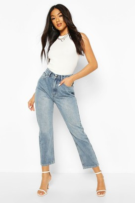 boohoo High Waist Straight Leg Jean