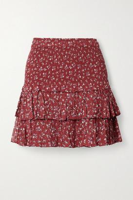 Etoile Isabel Marant Naomi Ruffled Floral-print Cotton-voile Mini Skirt - Claret