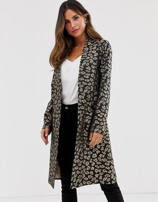 Helene Berman Edge to Edge duster coat in leopard print