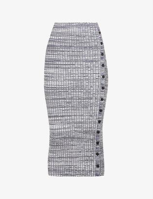 Self-Portrait Striped high-waist stretch-woven midi skirt