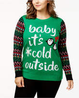 Planet Gold Trendy Plus Size Light-Up Holiday Sweater