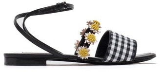 Fabrizio Viti Bea Floral-applique Gingham And Leather Sandals - Black White