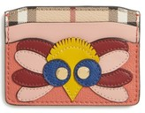 Burberry Women's Izzy Beasts Owl Leather Card Case - Red