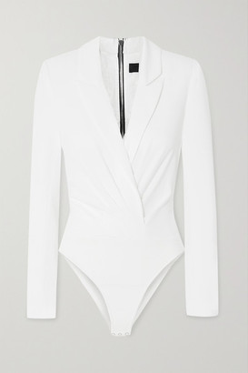 RtA Maryse Silk-twill And Stretch-tulle Bodysuit - White