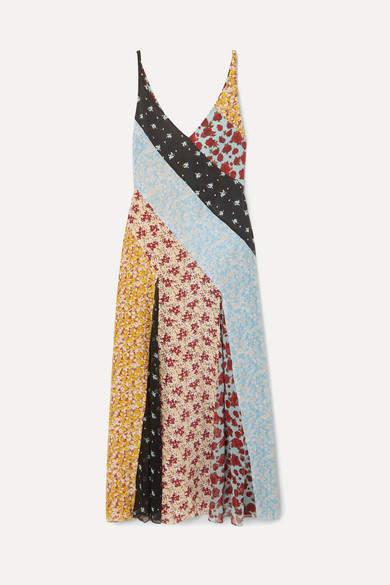 Rixo Denise Floral-print Silk Crepe De Chine And Georgette Midi Dress - Blue