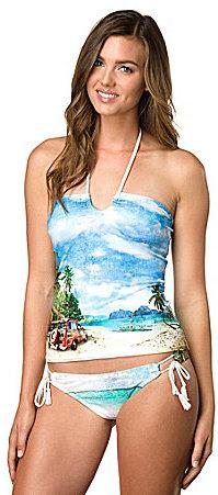 Hobie California Promises Printed Tankini Top & Solid Side-Tie Boy Shorts