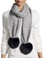 Sofia Cashmere Marled Cashmere Fur Pompom Scarf