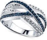 Unwritten Blue Stone and Crystal Crossover Ring in Silver-Plated Brass