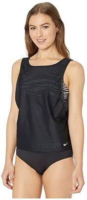 Nike Sport Mesh Convertible Layered Tankini (Black) Women's Swimwear