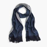 J.Crew Silk scarf in polka dot and stripe
