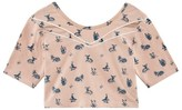 Une Fille Mink Woodland Printed Cropped Tee