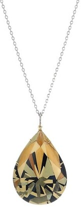 Silvia Furmanovich Marquetry 18K Yellow Gold, Brown Diamond & Wood Geometric Teardrop Pendant Necklace