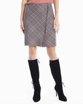 White House Black Market Plaid Asymmetrical Zip-Front Skirt