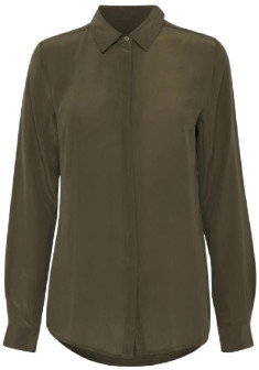 Ichi Dark Olive Crush Shirt - 36
