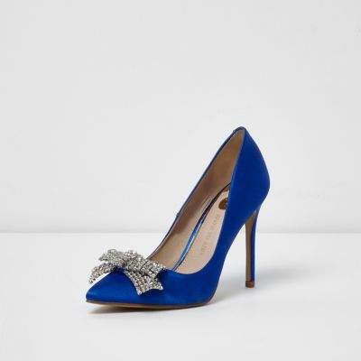 River Island Womens Blue satin diamante bow court shoes