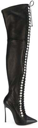 Casadei thigh length lace-up boots