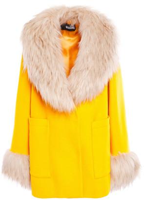 Love Moschino Faux Fur-trimmed Wool-blend Felt Coat