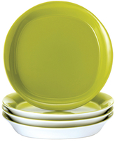 Rachael Ray Dinnerware Round & Square Collection 4-Piece Set of 8.5-Inch Salad/Dessert Plates, Green