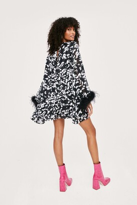Nasty Gal Womens Icon Printed Feather Trim Swing Mini Dress - Black - 4