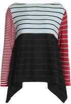 Sonia Rykiel Asymmetric Striped Silk And Cotton-Blend Top
