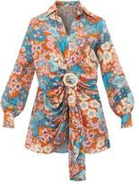 Dodo Bar Or Lora Floral-print Gathered Dress - Womens - Blue Print