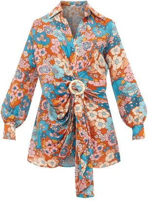 Dodo Bar Or Lora Floral-print Gathered Dress - Blue Print