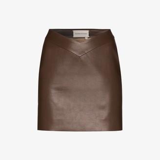ALEKSANDRE AKHALKATSISHVILI V-waist faux leather mini skirt