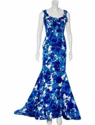 Oscar de la Renta Silk Abstract Gown black