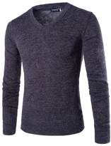 Bestgift Men's Long Sleeve Simple V-Neck Cotton Sweater XL