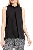 Vince Camuto Mock Neck Inverted Pleat Sleeveless Blouse
