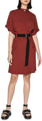 Cue Twill Button Front Utility Dress Chestnut