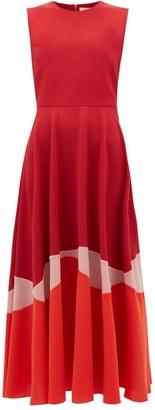 Roksanda Alesi Curved-panel Cady Midi Dress - Womens - Red Multi