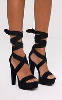 PrettyLittleThing Tria Black Faux Suede Wrap Platform Sandals