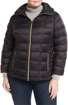 MICHAEL Michael Kors Packable Hooded Puffer Jacket, Black, Plus Size