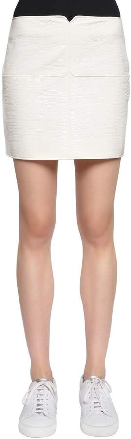 Courreges Crackled Vinyl Coated Cotton Mini Skirt