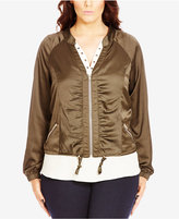 City Chic Plus Size Ruched Sateen Bomber Jacket