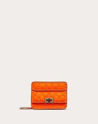 Valentino Mini Rockstud Spike Fluo Calfskin Leather Bag Women Neon Blue Calfskin 100% OneSize