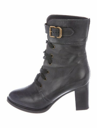 Chloé Leather Distressed Accents Lace-Up Boots Grey