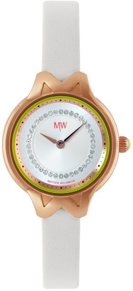 Matthew Williamson Women's Quartz Watch with White Dial Analogue Display and White Leather Strap LSM34002/06