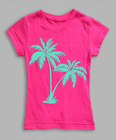 Urban Smalls Hot Pink Palms Fitted Tee - Toddler & Girls