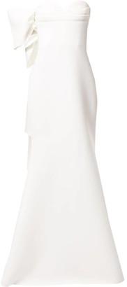Badgley Mischka asymmetric bow gown
