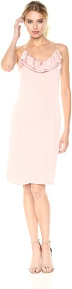 BCBGeneration Women's Pink Ruffled Slip Dress