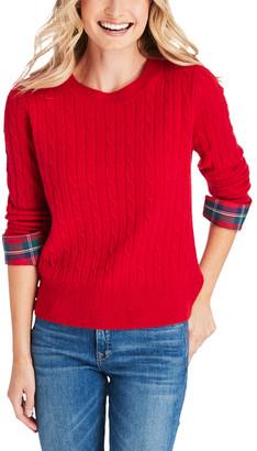 Vineyard Vines Women's Pullover Sweaters 0621 - Red Velvet Tartan-Cuff Cashmere Coral Lane Sweater - Women & Plus