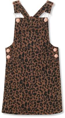M&Co Leopard print denim pinafore dress (3-12yrs)