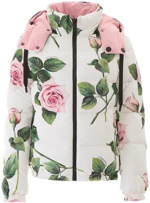 Dolce & Gabbana Floral Print Reversible Puffer Jacket