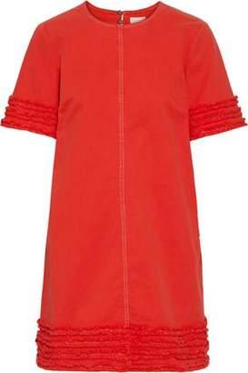 Cinq à Sept Ashton Frayed Stretch-cotton Twill Mini Dress